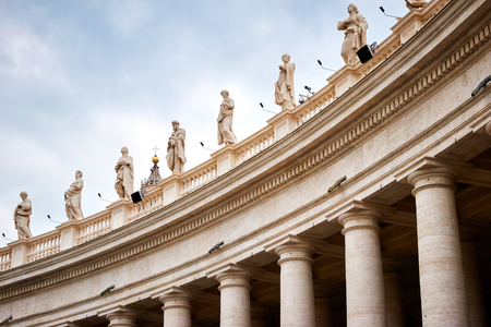 peters: Colonnades that surround St. Peters Square in Rome, Vatican City, with many statues on top