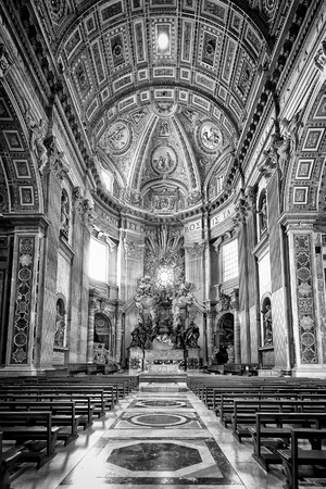 bernini: Apse of basilica of St. Peters in Rome. Masterpieces of Bernini; Chair of St. Peter and Gloria, the descent of the Holy Spirit. Black and white processing.