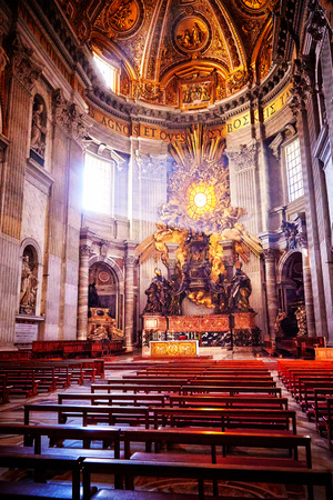 gloria: Apse of basilica of St. Peters in Rome. Masterpieces of Bernini; Chair of St. Peter and Gloria, the descent of the Holy Spirit.