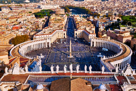 peters: Panoramic view of city of Rome and St. Peters Square from top of the dome of the basilica of St. Peter