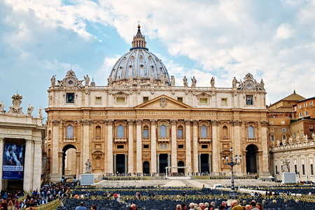VATICAN CITY, VATICAN - OCTOBER 29: The facade of the basilica of St. Peter in Rome, Italy on October 29, 2014