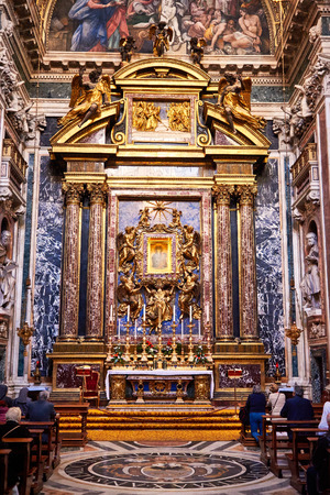 relics: ROME, ITALY - OCTOBER 30: The interior of the church of St. Mary Major, Santa Maria Maggiore is full of works of art, valuable objects and relics in Rome, Italy on October 30, 2014.