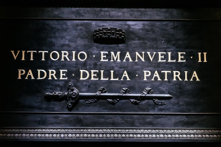 altar of fatherland: Inscription on the tomb of the father of the Italian homeland, Vittorio Emmanuel, Pantheon in Rome, Italy Editorial
