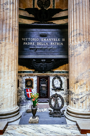 altar of fatherland: ROME, ITALY - OCTOBER 29: Tomb of the father of the Italian homeland, Vittorio Emmanuel, Pantheon in Rome, Italy on October 29, 2014.