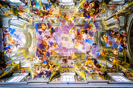 italian fresco: ROME, ITALY - OCTOBER 29: The interior of the Church of St. Ignatius of Loyola is full of works of art, valuable objects and relics in Rome, Italy on October 29, 2014.