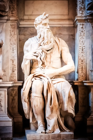 vincoli: Sculpture of the prophet Moses, made by the famous artist Michelangelo in the church of San Pietro in Vincoli in Rome, Italy