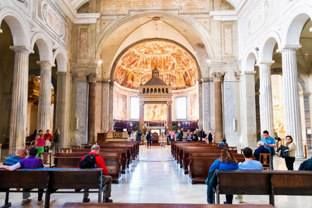 vincoli: ROME, ITALY - OCTOBER 30: Tourists exploring the Church of San Pietro in Vincoli in Rome, Italy on October 30, 2014.