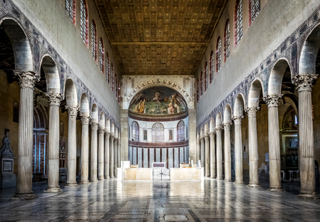 ROME, ITALY - OCTOBER 30: Interior of the Basilica of Saint Sabina in Rome, Italy on October 30, 2014.