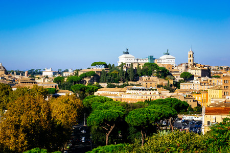 ROME, ITALY - OCTOBER 30: Panoramic view of Rome as seen from Orange garden, Giardino degli Aranci, in Rome, Italy on October 30, 2014.