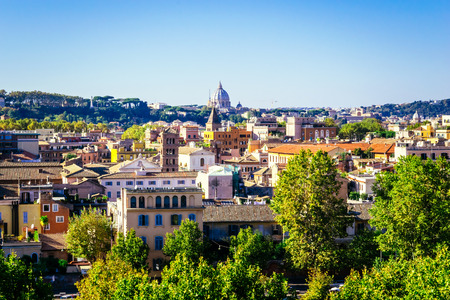 giardino: ROME, ITALY - OCTOBER 30: Panoramic view of Rome as seen from Orange garden, Giardino degli Aranci, in Rome, Italy on October 30, 2014.