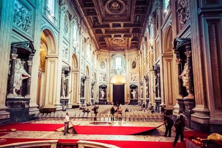 john the baptist: ROME, ITALY - OCTOBER 30: Interior of Archbasilica of St. John Lateran in Rome, Italy on October 30, 2014. Editorial
