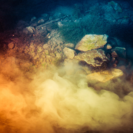 abstract wave: Abstract underwater scene with smoke Stock Photo