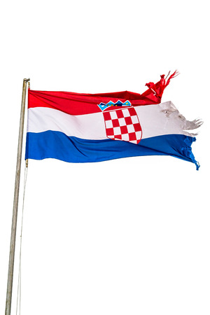 lacerated: Torn out national flag of Croatia