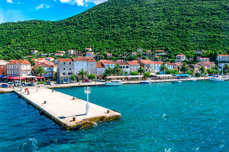 View from ferry on a small town Trpanj in southern Dalmatia in Croatia