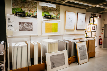 ikea: MALMO, SWEDEN - JANUARY 2, 2015: Interior of large IKEA store with a wide range of products in Malmo, Sweden. Ikea was founded in Sweden in 1943, Ikea is the worlds largest furniture retailer.