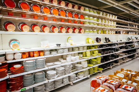 MALMO, SWEDEN - JANUARY 2, 2015: Interior of large IKEA store with a wide range of products in Malmo, Sweden. Ikea was founded in Sweden in 1943, Ikea is the world's largest furniture retailer.