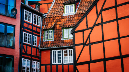 Old vintage retro colorful houses in in old part of town in Copenhagen