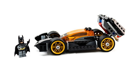 december 25: ZAGREB, CROATIA - DECEMBER 25, 2015: Lego toy Batman with Batmobile. Studio shot on white background. Editorial