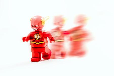 ZAGREB, CROATIA - DECEMBER 25, 2015: Lego toy Flash from DC comics. Studio shot on white background. Illustrative editorial.