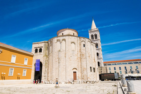 croatian: ZADAR, CROATIA - JULY 28, 2015: Church of st. Donat, a monumental building from the 9th century in Zadar, Croatia Editorial