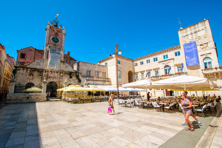ZADAR, CROATIA - JULY 28, 2015: Center of the old town of Zadar, Croatia Stock Photo