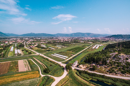 Aerial view of fertile land and crops in southern Croatia in the Neretva Valley Stock Photo