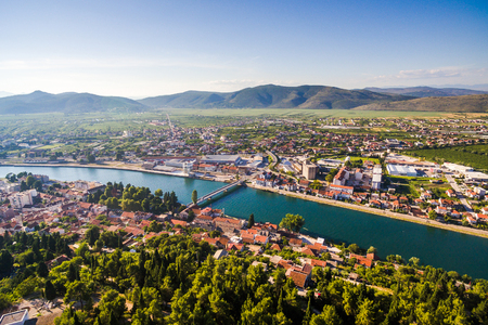 View from the air in a small place in Dalmatia in southern Croatia. Metkovic. Standard-Bild