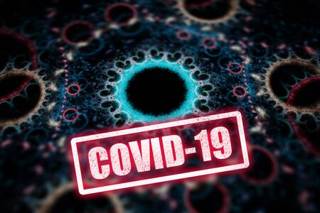 Coronavirus epidemic, words COVID-19 and stay home on fractal illustration that looks like corona virus.
