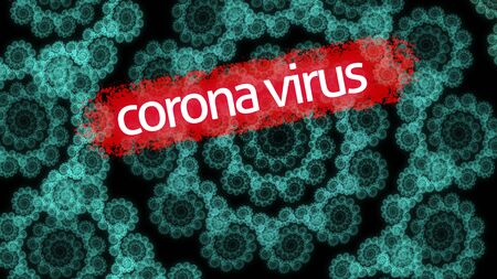 Coronavirus epidemic, words COVID-19 and stay home on fractal illustration that looks like corona virus. Novel coronavirus outbreak