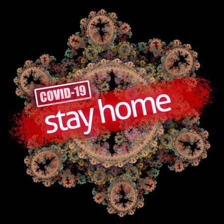 Coronavirus epidemic, words COVID-19 and stay home on fractal illustration 版權商用圖片