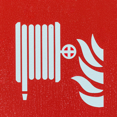 Fire Extinguisher Symbol With Sleeve And Flames White Over Stock