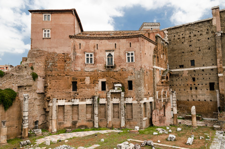 new age: ruins from roman empire age with new houses on top. Emperial street Forum heritage site, Rome Stock Photo