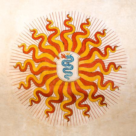 edad media: la serpiente se come un hombre, el símbolo de Milán Ayuntamiento durante las edades medias y Renassaince. el símbolo está en el centro rayos de sol como símbolo de poder. Italia