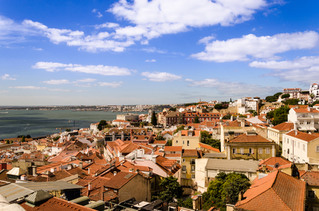 down town: cityscape of the lisbon down town from roof of sao vincente de fora church Stock Photo