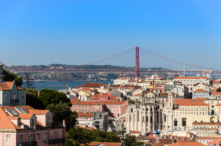chiado: cityscape of lisbon with the view of barrio and chiado quarter and the 25th april bridge Stock Photo