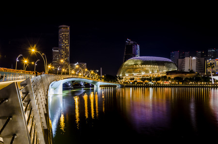 night view of the singapore, with the theater of the bay reflecting over the water. esplanade. asia. future. Editorial