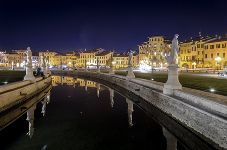 view of prato della valle square by night, Padua, Italy