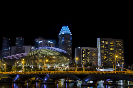 view of the esplanade , the opera house in Singapore. asia. future. architecture. Editorial