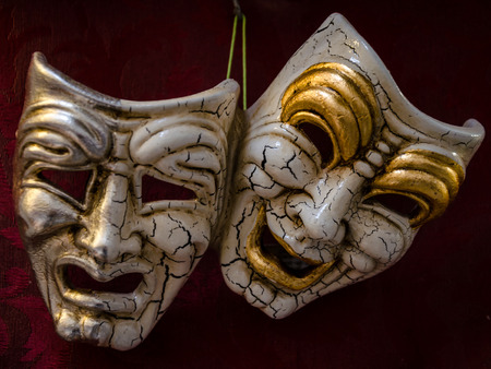 view of two carnival mask of venice. symbol. theatre. 스톡 콘텐츠