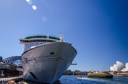 view of a cruise ship anchored at Sydney harbor. australia. travel. tourism Stock Photo