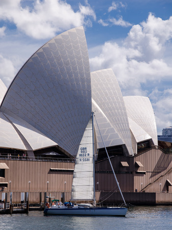 view of the Sydney Opera House. Iconic view from the park of the bay. Sydney. Australia.