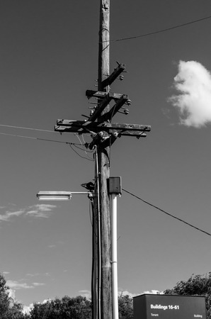 view of a n old electric pole