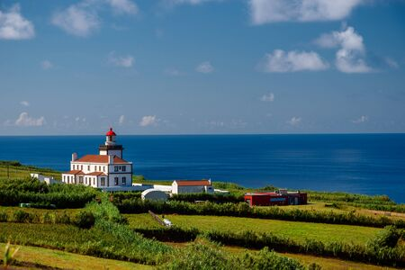 landscape of the lighthouse in sao miguel, azores portugal