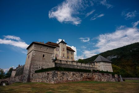 view of the exterior of castel thun in val di non (closed to trento). italy