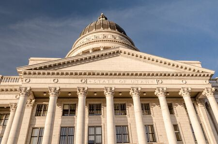 frontal view of the capitol of the state of Utah in Salt Lake CIty. United States.