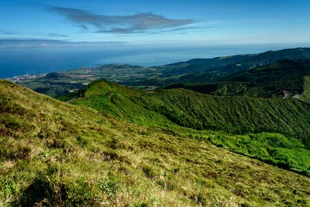 panorama of the sao miguel mountains and hills in azores portugal Imagens