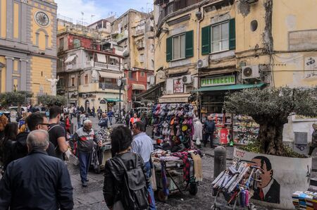 View of a urban scene in the city center of Naples. Italy