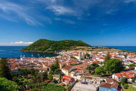 aerial view of the city of angra do heroismo from the Miradouro da Serreta , azores portugal