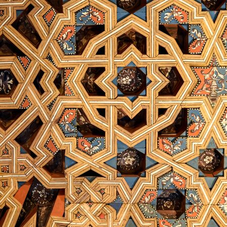 view of arad wooden ceiling, granada, spain. Imagens