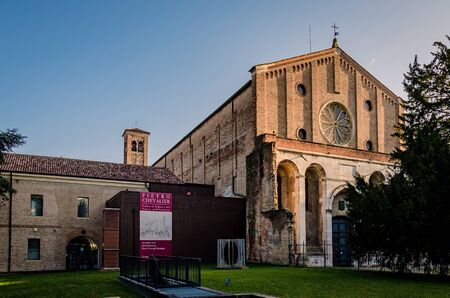 lateral view of the eremitanis church at sunset, Padua, Italy.